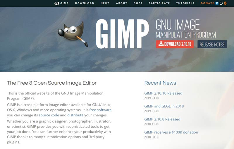 Gimp Photo Manipulation Program Homepage