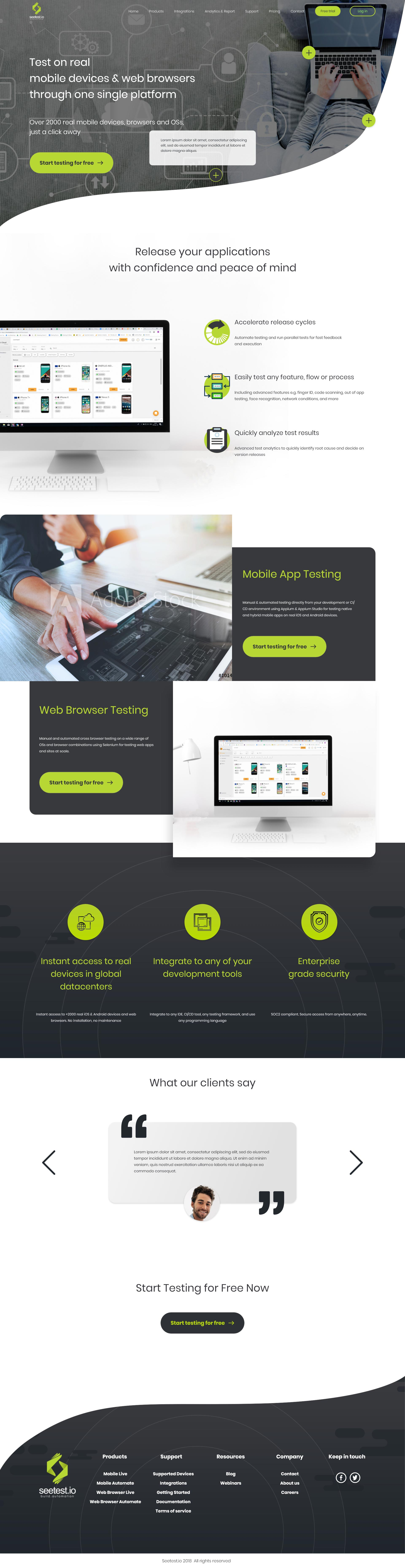 Seetest Homepage Concept Design